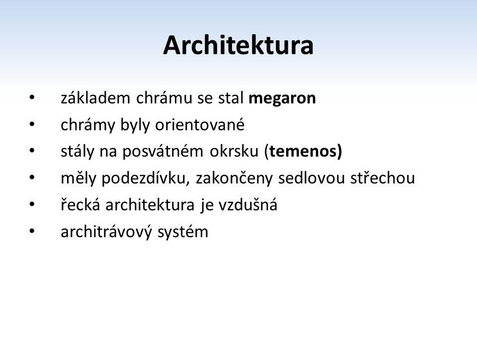 Architektura základem chrámu se stal megaron chrámy byly orientované stály na posvátném okrsku (temenos) měly podezdívku, zakončeny sedlovou střechou
