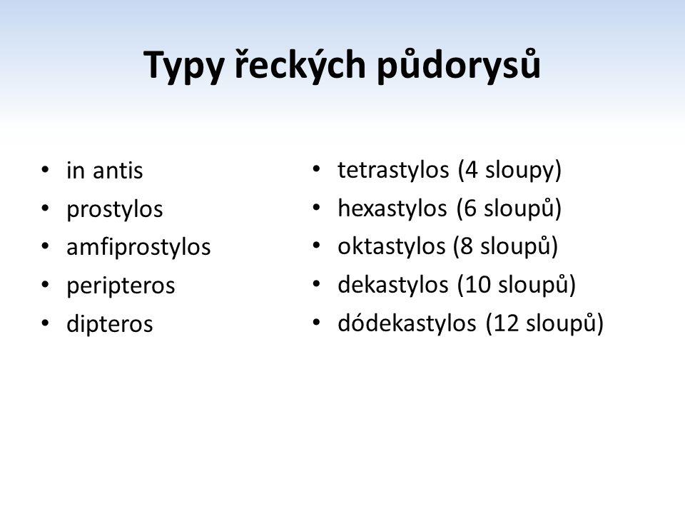Typy řeckých půdorysů in antis prostylos amfiprostylos peripteros dipteros tetrastylos (4 sloupy) hexastylos (6 sloupů) oktastylos (8 sloupů) dekastyl