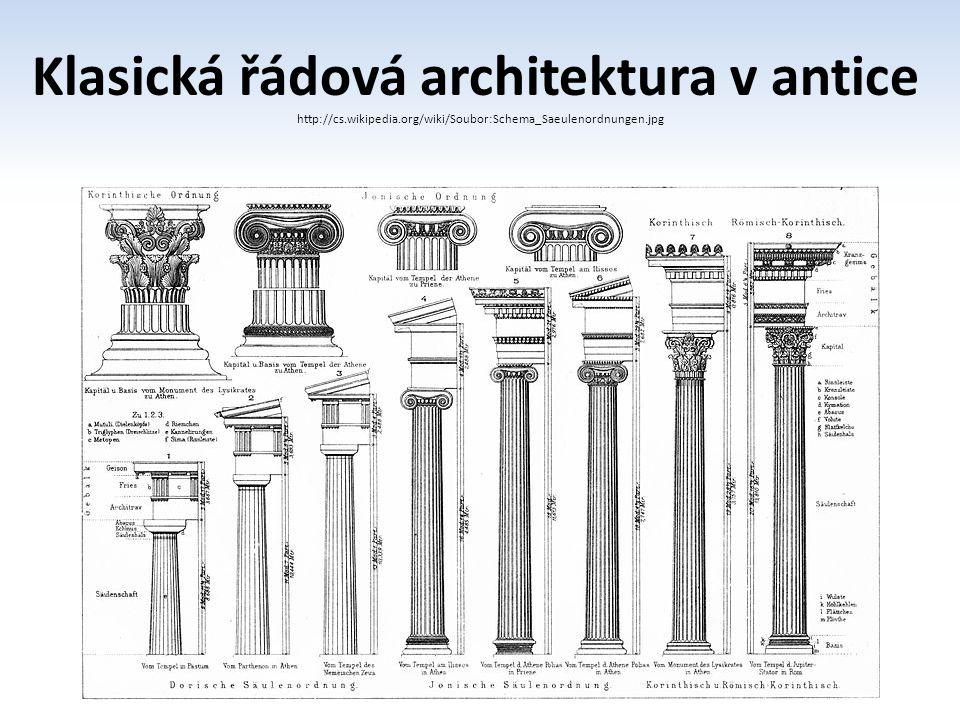 Klasická řádová architektura v antice http://cs.wikipedia.org/wiki/Soubor:Schema_Saeulenordnungen.jpg