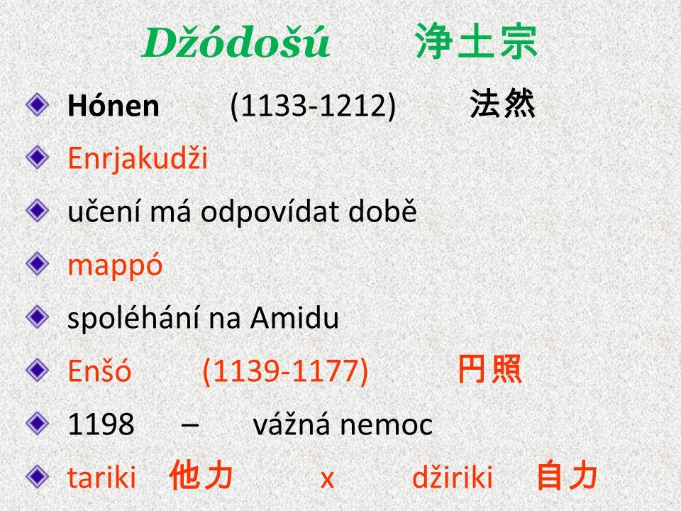Džódošú 浄土宗 Hónen (1133-1212) 法然 Enrjakudži učení má odpovídat době mappó spoléhání na Amidu Enšó (1139-1177) 円照 1198 – vážná nemoc tariki 他力 x džiriki 自力