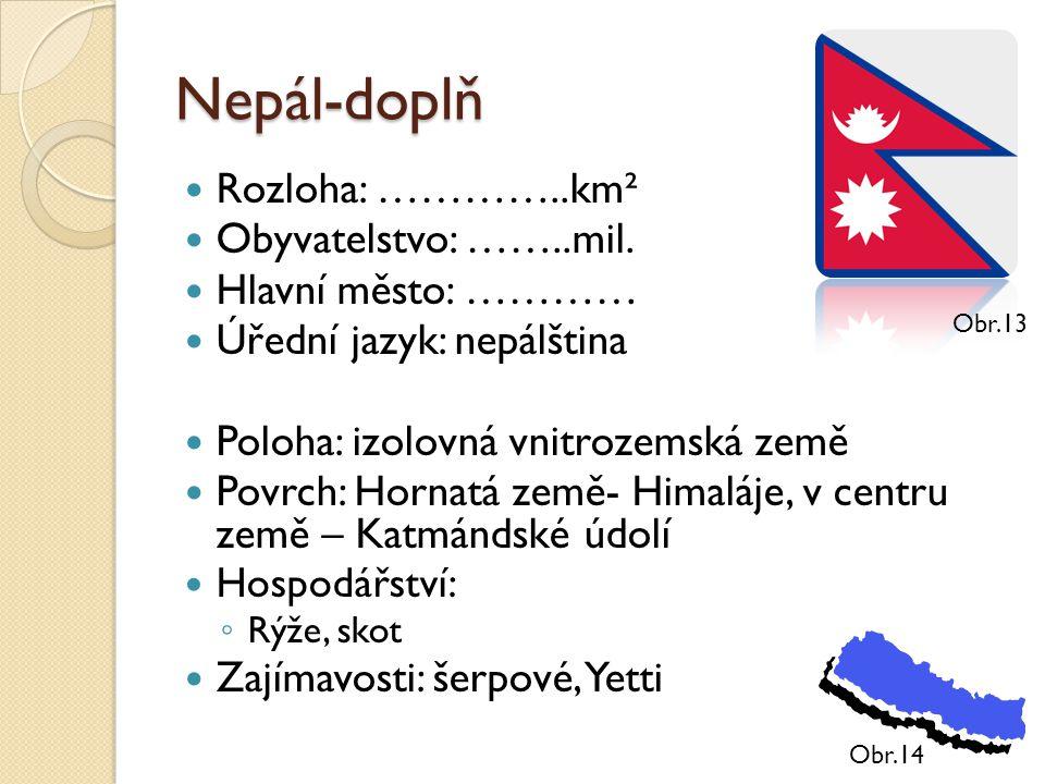 Nepál-doplň Rozloha: …………..km² Obyvatelstvo: ……..mil. Hlavní město: ………… Úřední jazyk: nepálština Poloha: izolovná vnitrozemská země Povrch: Hornatá z