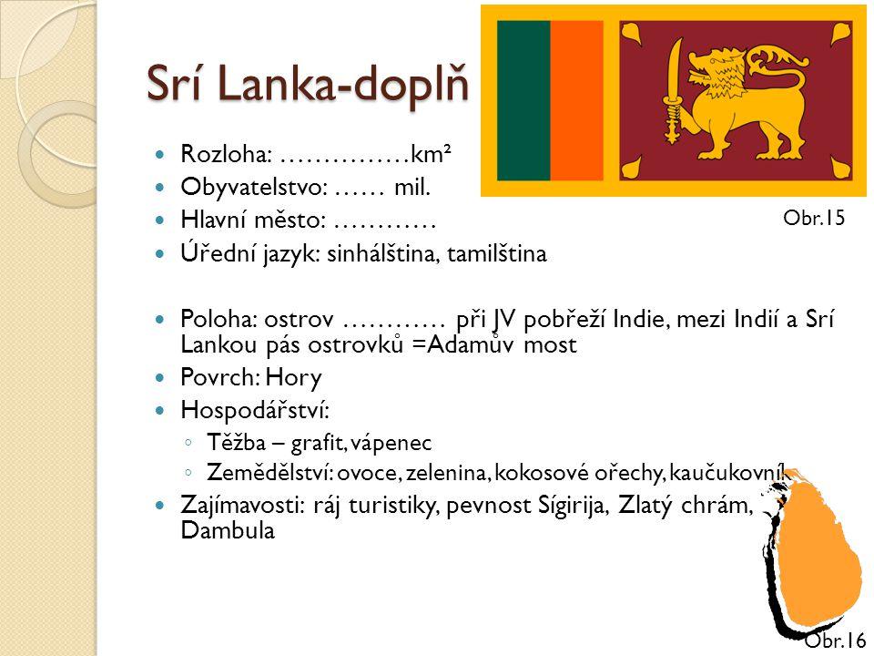 Srí Lanka-doplň Rozloha: ……………km² Obyvatelstvo: …… mil. Hlavní město: ………… Úřední jazyk: sinhálština, tamilština Poloha: ostrov ………… při JV pobřeží In