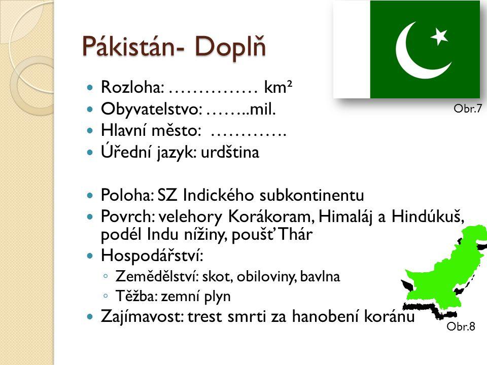 Pákistán- Doplň Rozloha: …………… km² Obyvatelstvo: ……..mil. Hlavní město: …………. Úřední jazyk: urdština Poloha: SZ Indického subkontinentu Povrch: veleho
