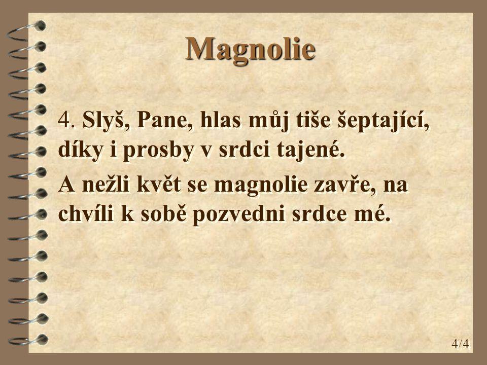 Magnolie 4. Slyš, Pane, hlas můj tiše šeptající, díky i prosby v srdci tajené. A nežli květ se magnolie zavře, na chvíli k sobě pozvedni srdce mé. 4.