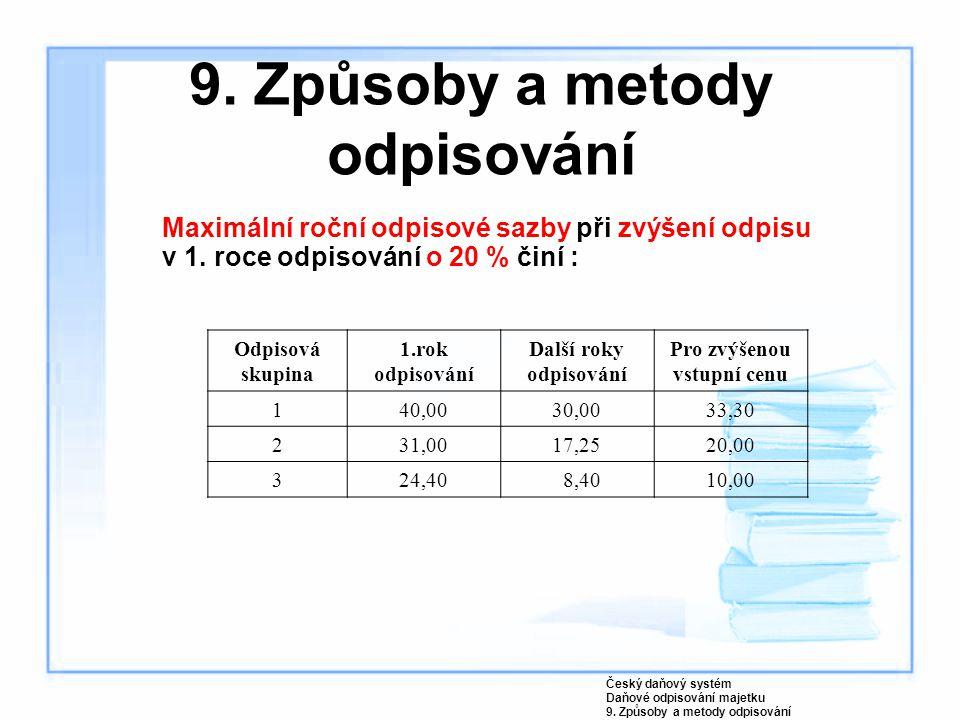 9. Způsoby a metody odpisování Maximální roční odpisové sazby při zvýšení odpisu v 1. roce odpisování o 20 % činí : Český daňový systém Daňové odpisov