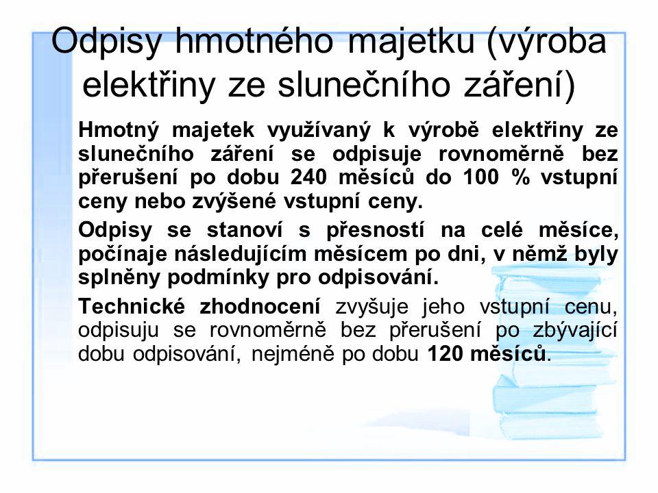 Odpisy hmotného majetku (výroba elektřiny ze slunečního záření) Hmotný majetek využívaný k výrobě elektřiny ze slunečního záření se odpisuje rovnoměrn