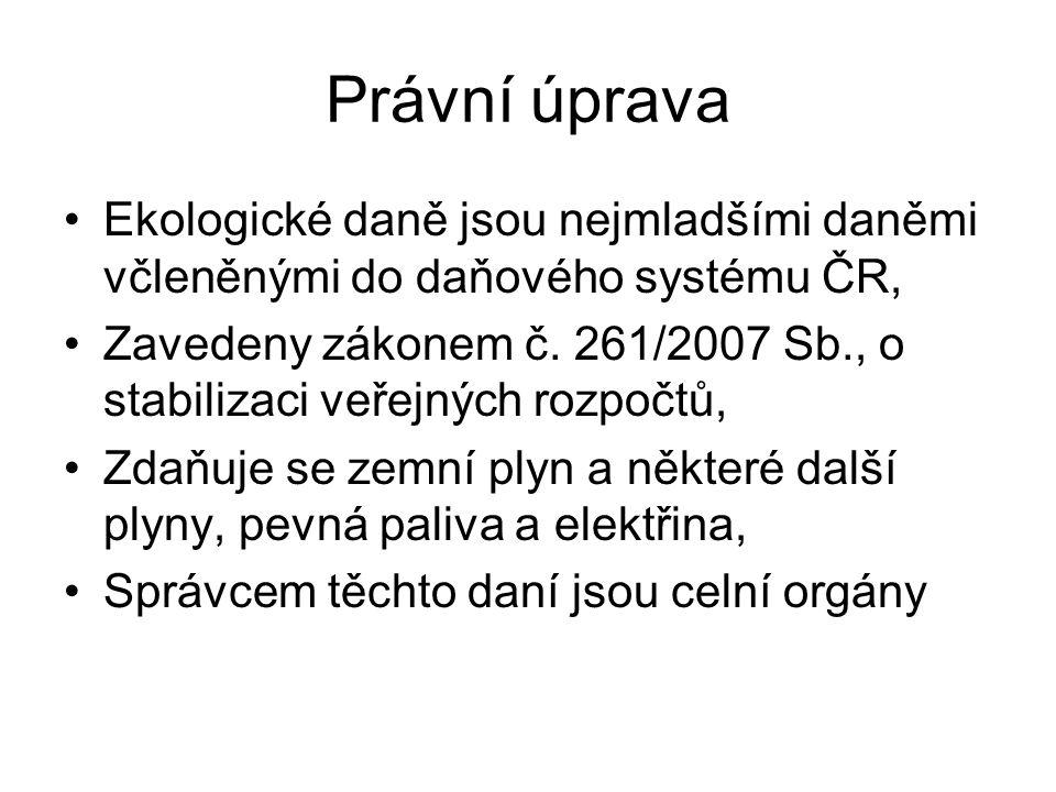Právní úprava Ekologické daně jsou nejmladšími daněmi včleněnými do daňového systému ČR, Zavedeny zákonem č. 261/2007 Sb., o stabilizaci veřejných roz