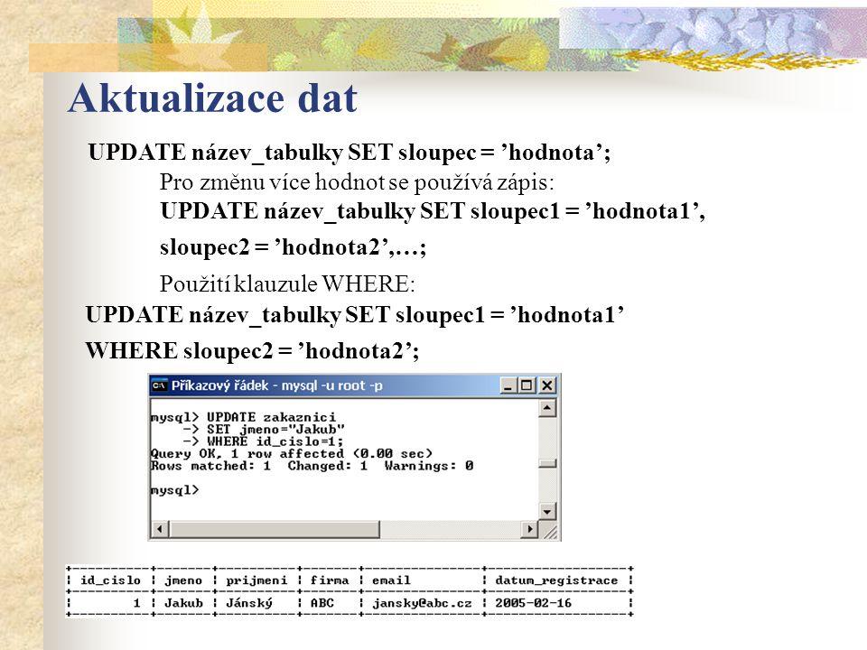 Aktualizace dat UPDATE název_tabulky SET sloupec = 'hodnota'; Pro změnu více hodnot se používá zápis: UPDATE název_tabulky SET sloupec1 = 'hodnota1', sloupec2 = 'hodnota2',…; Použití klauzule WHERE: UPDATE název_tabulky SET sloupec1 = 'hodnota1' WHERE sloupec2 = 'hodnota2';