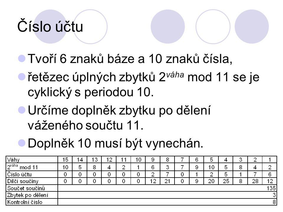 Číslo účtu Tvoří 6 znaků báze a 10 znaků čísla, řetězec úplných zbytků 2 váha mod 11 se je cyklický s periodou 10. Určíme doplněk zbytku po dělení váž