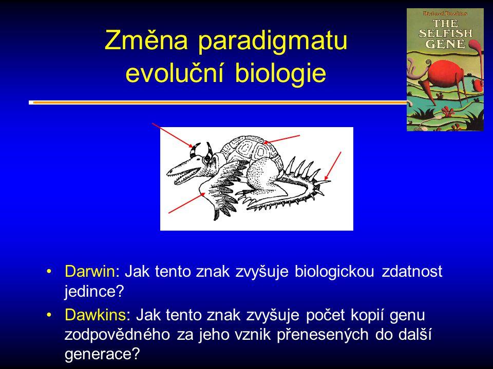 Změna paradigmatu evoluční biologie Darwin: Jak tento znak zvyšuje biologickou zdatnost jedince.