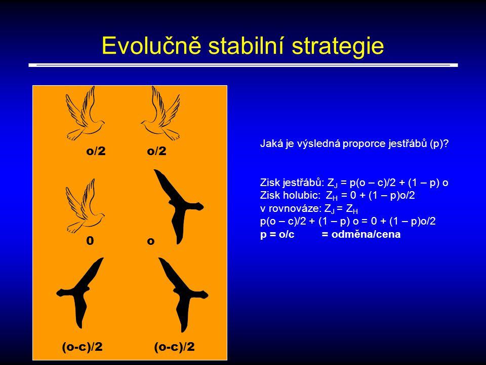 Evolučně stabilní strategie o/2 0o (o-c)/2 Jaká je výsledná proporce jestřábů (p).