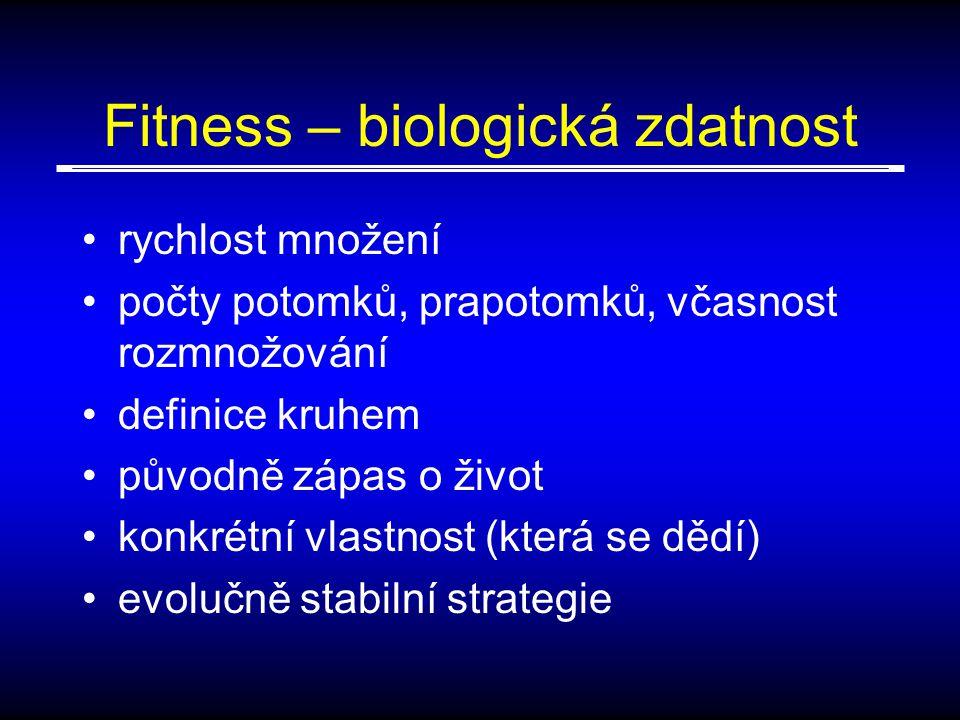 Fitness – biologická zdatnost rychlost množení počty potomků, prapotomků, včasnost rozmnožování definice kruhem původně zápas o život konkrétní vlastnost (která se dědí) evolučně stabilní strategie