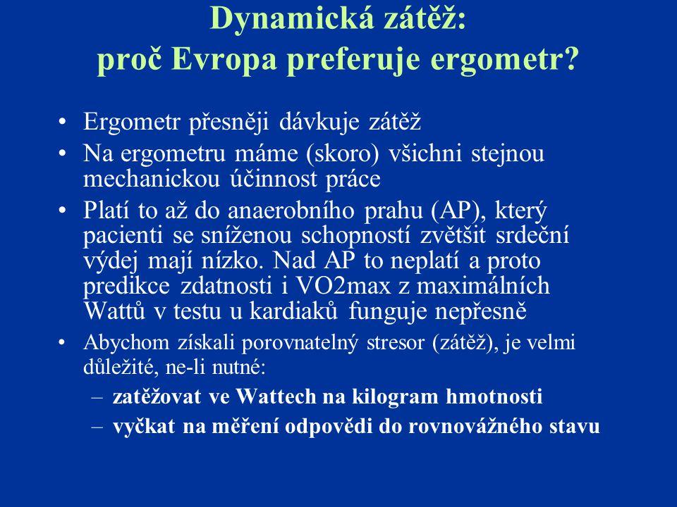 Dynamická zátěž: proč Evropa preferuje ergometr? Ergometr přesněji dávkuje zátěž Na ergometru máme (skoro) všichni stejnou mechanickou účinnost práce