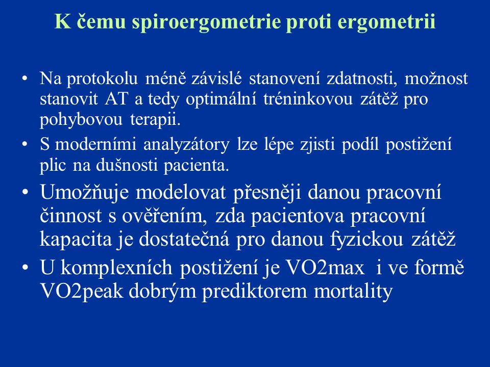 K čemu spiroergometrie proti ergometrii Na protokolu méně závislé stanovení zdatnosti, možnost stanovit AT a tedy optimální tréninkovou zátěž pro pohy