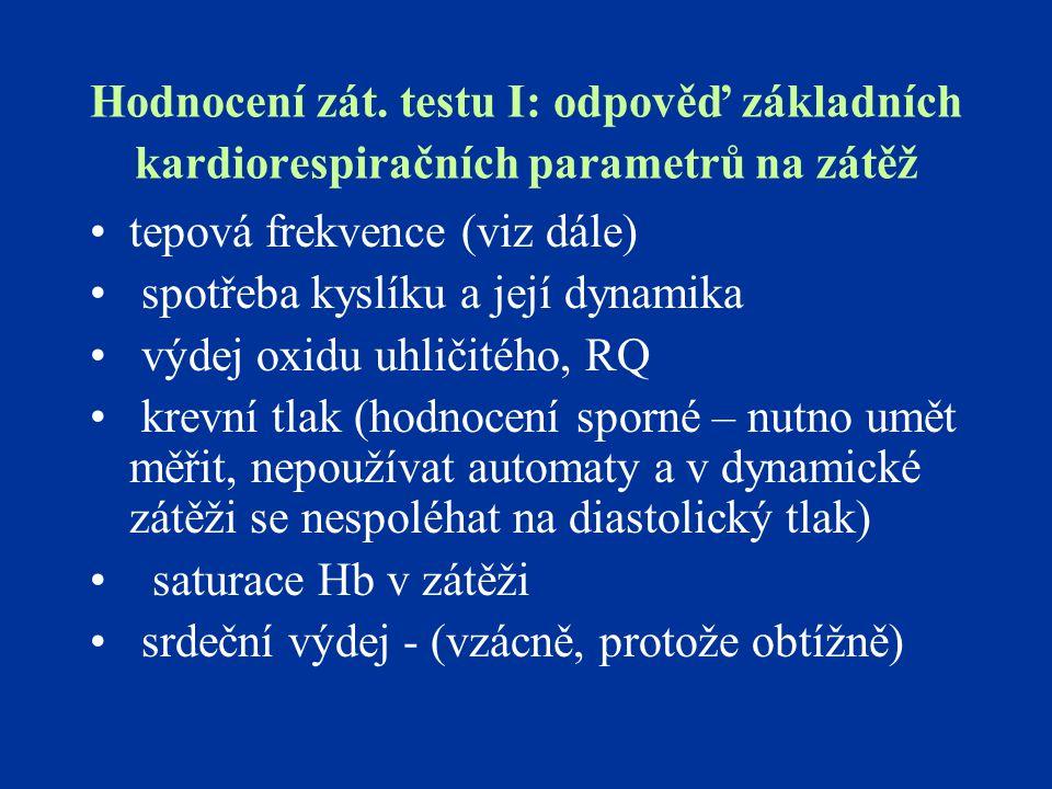 Hodnocení zát. testu I: odpověď základních kardiorespiračních parametrů na zátěž tepová frekvence (viz dále) spotřeba kyslíku a její dynamika výdej ox