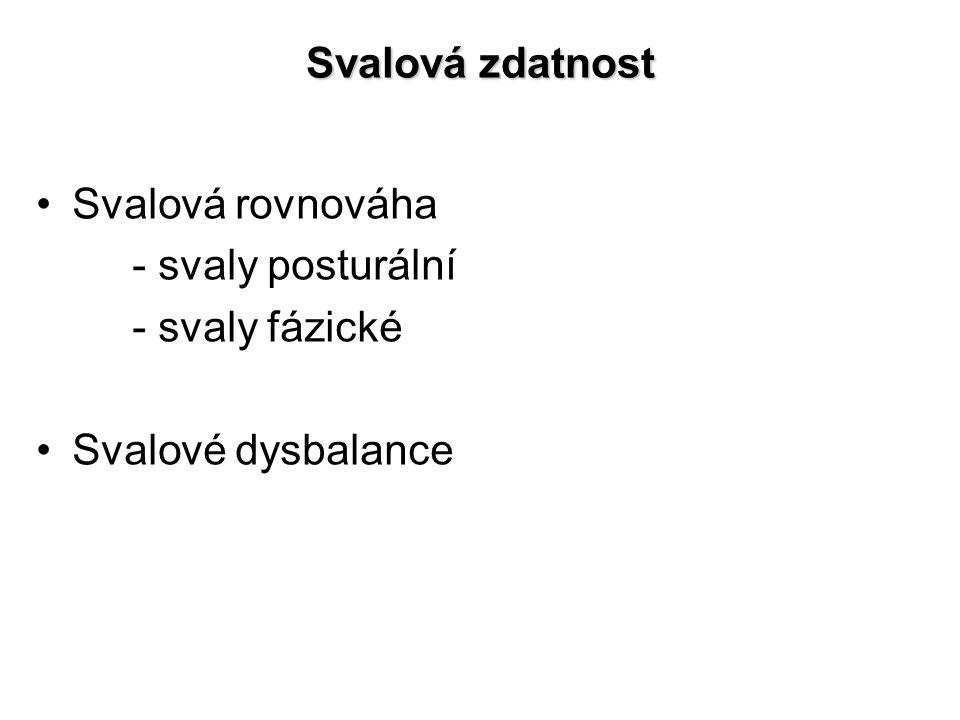 Svalová zdatnost Svalová rovnováha - svaly posturální - svaly fázické Svalové dysbalance