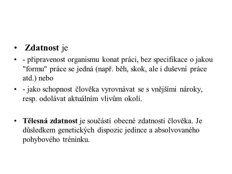 Zdatnost je - připravenost organismu konat práci, bez specifikace o jakou formu práce se jedná (např.