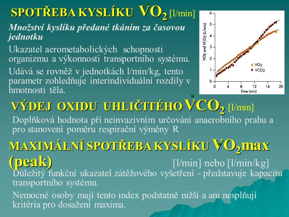 SPOTŘEBA KYSLÍKU VO 2 SPOTŘEBA KYSLÍKU VO 2 [l/min] Množství kyslíku předané tkáním za časovou jednotku Ukazatel aerometabolických schopnosti organizm
