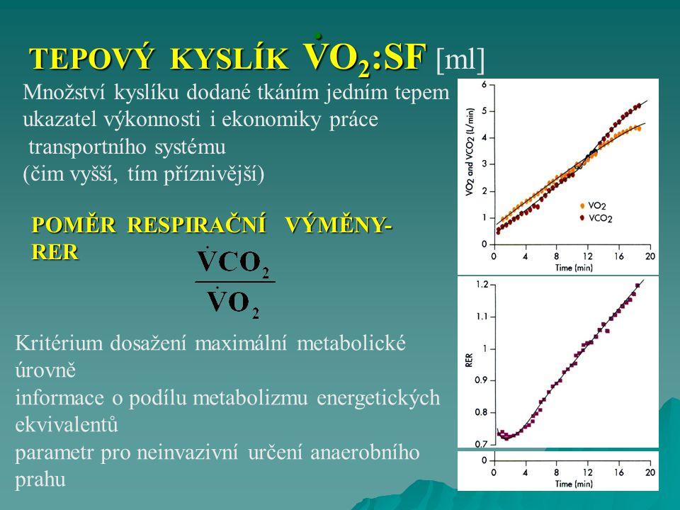 POMĚR RESPIRAČNÍ VÝMĚNY- RER Kritérium dosažení maximální metabolické úrovně informace o podílu metabolizmu energetických ekvivalentů parametr pro nei