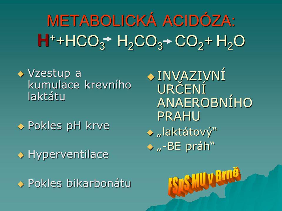 METABOLICKÁ ACIDÓZA: H + +HCO 3 H 2 CO 3 CO 2 + H 2 O  Vzestup a kumulace krevního laktátu  Pokles pH krve  Hyperventilace  Pokles bikarbonátu  I