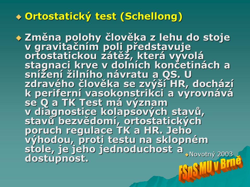  Ortostatický test (Schellong)  Změna polohy člověka z lehu do stoje v gravitačním poli představuje ortostatickou zátěž, která vyvolá stagnaci krve