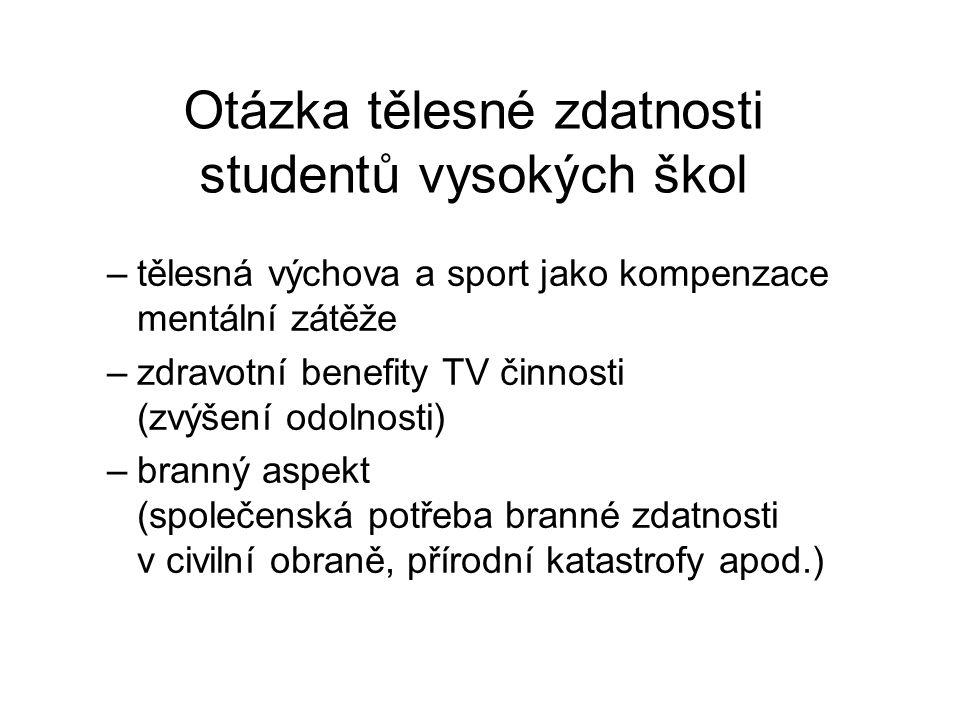 Otázka tělesné zdatnosti studentů vysokých škol –tělesná výchova a sport jako kompenzace mentální zátěže –zdravotní benefity TV činnosti (zvýšení odol