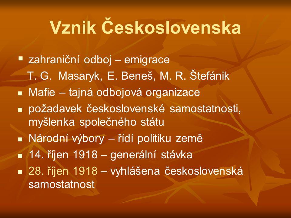 Vznik Československa   zahraniční odboj – emigrace T. G. Masaryk, E. Beneš, M. R. Štefánik Mafie – tajná odbojová organizace požadavek československ