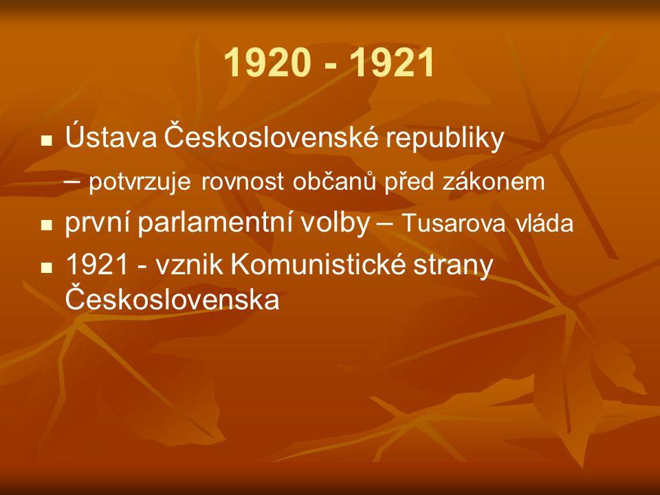 1920 - 1921 Ústava Československé republiky – potvrzuje rovnost občanů před zákonem první parlamentní volby – Tusarova vláda 1921 - vznik Komunistické