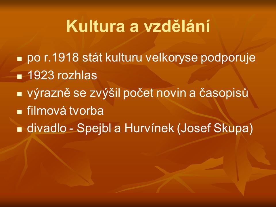Kultura a vzdělání po r.1918 stát kulturu velkoryse podporuje 1923 rozhlas výrazně se zvýšil počet novin a časopisů filmová tvorba divadlo - Spejbl a