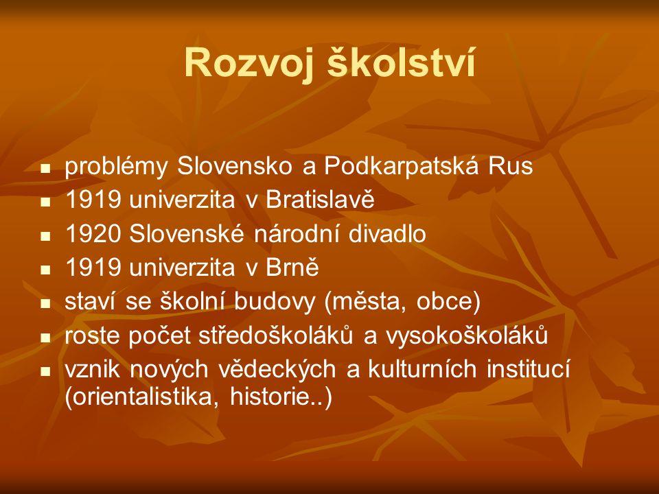 Rozvoj školství problémy Slovensko a Podkarpatská Rus 1919 univerzita v Bratislavě 1920 Slovenské národní divadlo 1919 univerzita v Brně staví se škol