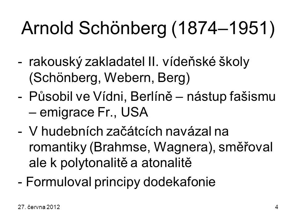 Arnold Schönberg (1874–1951) -rakouský zakladatel II. vídeňské školy (Schönberg, Webern, Berg) -Působil ve Vídni, Berlíně – nástup fašismu – emigrace