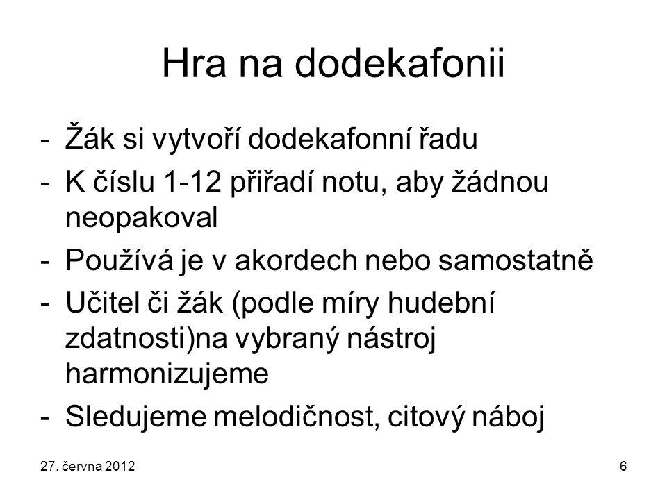 Hra na dodekafonii -Žák si vytvoří dodekafonní řadu -K číslu 1-12 přiřadí notu, aby žádnou neopakoval -Používá je v akordech nebo samostatně -Učitel č