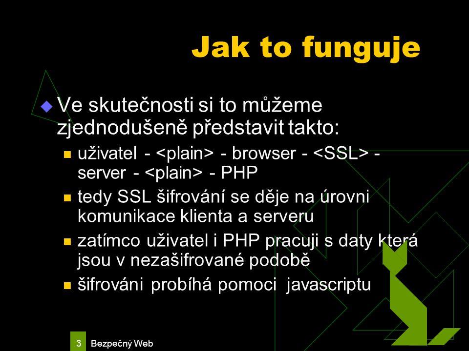 Bezpečný Web 4 Jak to funguje: javascript se provádí na straně browseru takže jeho zdrojové kódy jsou přístupné a tedy postup při zašifrováni dat je vystaven libovolnému počtu průměrně zdatných útočníku kteří by o naše data stáli.