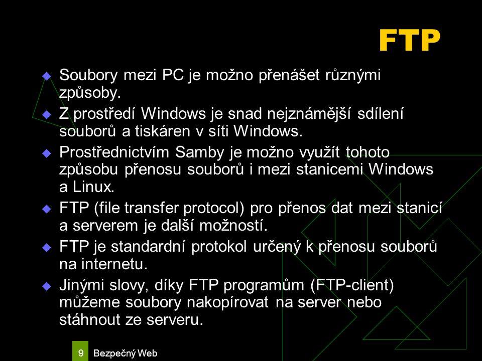 Bezpečný Web 10 FTPS Protokol FTPS (File Transfer Protocol over SSL, Bezpečný protokol pro přenos souborů) představuje silné šifrování standardního protokolu FTP pro přenos souborů, který ve své základní podobě žádné zabezpečení nenabízí.