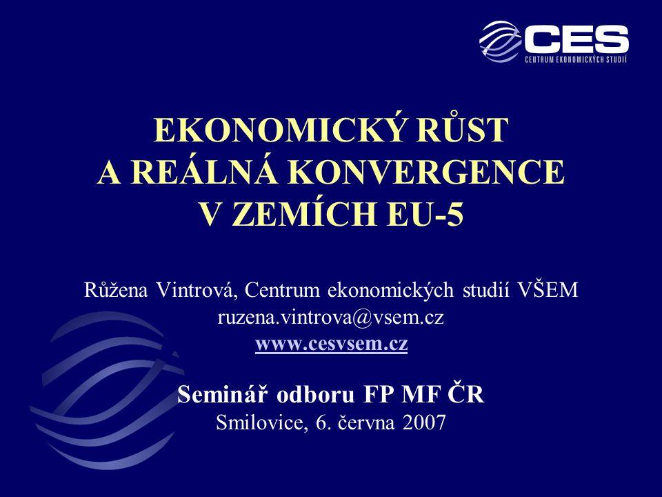 2 OBSAH I.Ekonomický růst a jeho faktory II.Postup reálné konvergence a změny mezinárodní pozice zemí EU-5 III.