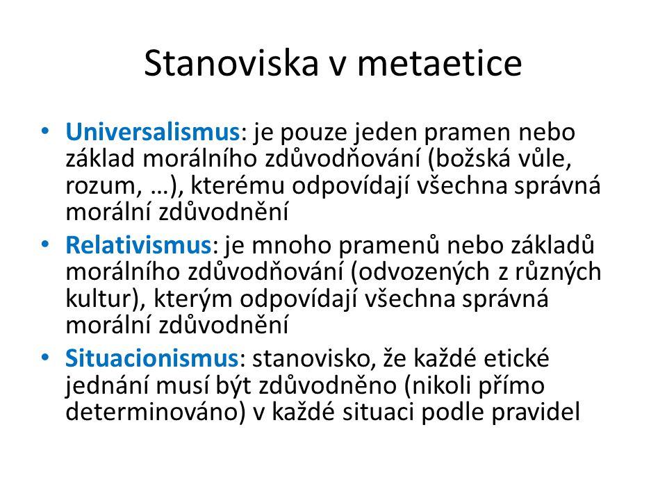 Stanoviska v metaetice Universalismus: je pouze jeden pramen nebo základ morálního zdůvodňování (božská vůle, rozum, …), kterému odpovídají všechna sp