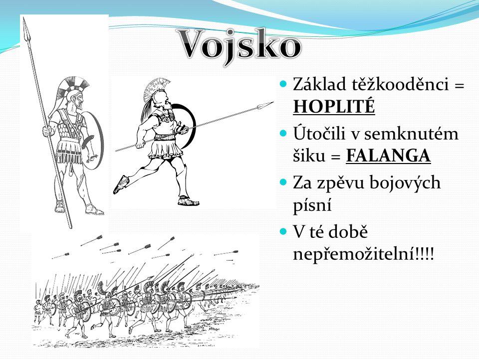 Základ těžkooděnci = HOPLITÉ Útočili v semknutém šiku = FALANGA Za zpěvu bojových písní V té době nepřemožitelní!!!!