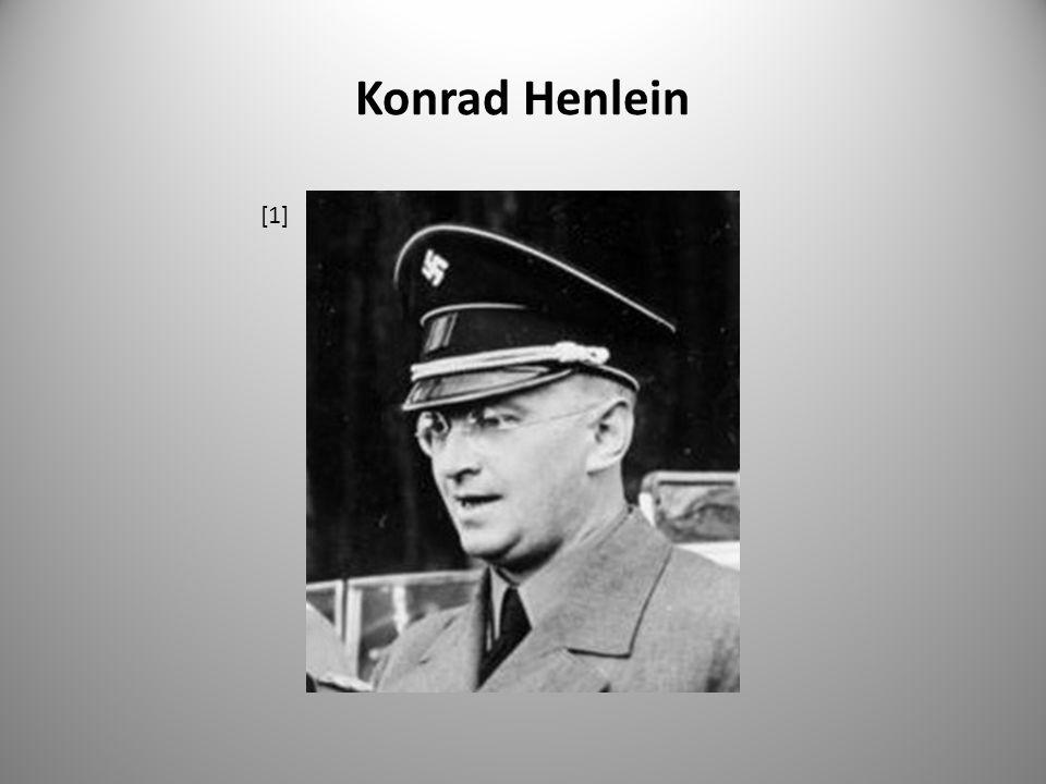 """Karlovarský program – 24.4.1938 Body programu : """"Nastolení úplné rovnoprávnosti sudetoněmecké národnostní skupiny s českým národem."""