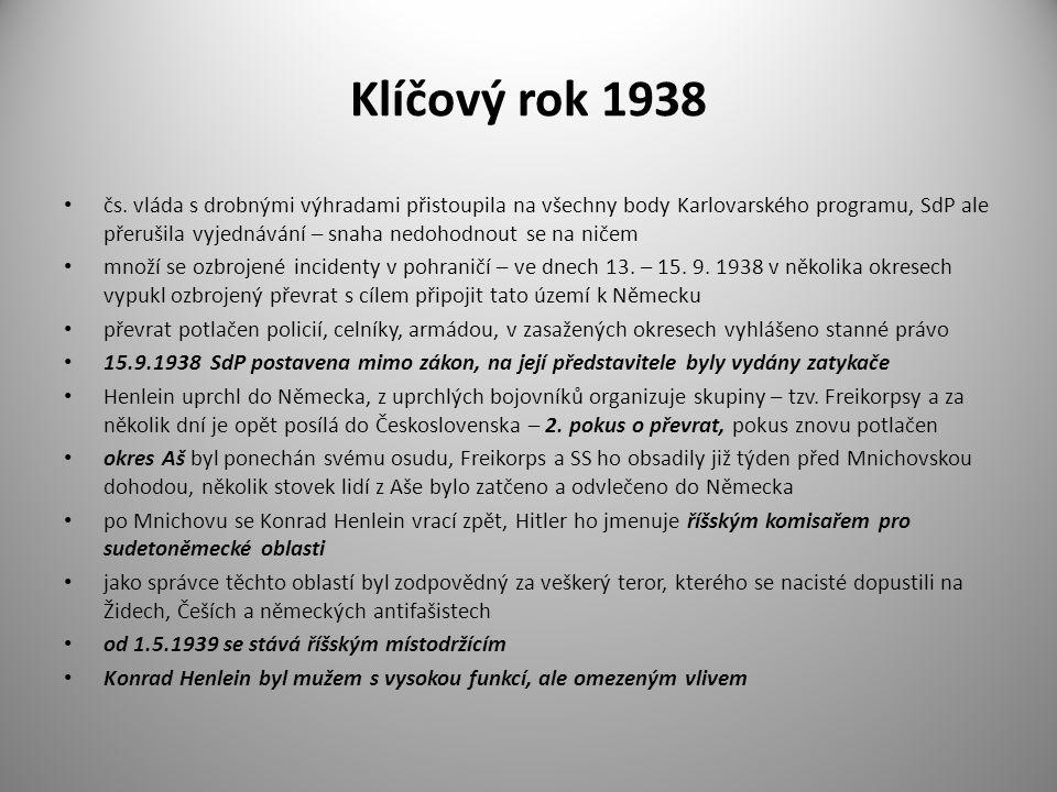 Klíčový rok 1938 čs. vláda s drobnými výhradami přistoupila na všechny body Karlovarského programu, SdP ale přerušila vyjednávání – snaha nedohodnout