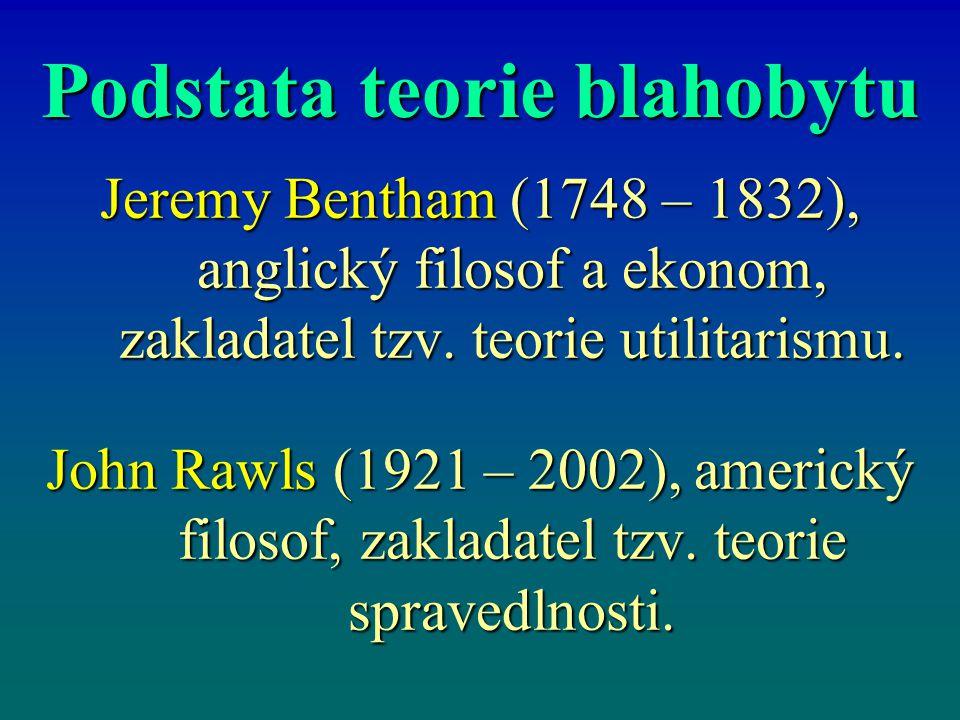 Podstata teorie blahobytu Jeremy Bentham (1748 – 1832), anglický filosof a ekonom, zakladatel tzv. teorie utilitarismu. John Rawls (1921 – 2002), amer