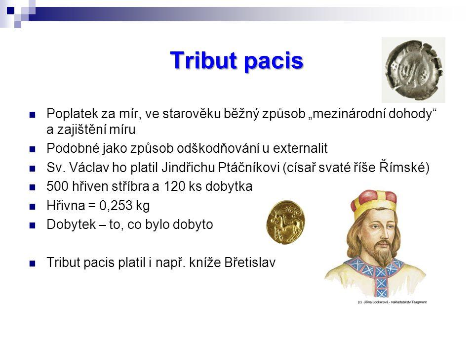 """Tribut pacis Poplatek za mír, ve starověku běžný způsob """"mezinárodní dohody a zajištění míru Podobné jako způsob odškodňování u externalit Sv."""