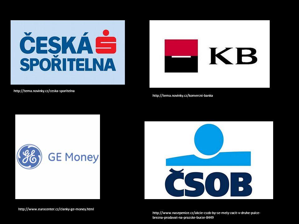 http://tema.novinky.cz/ceska-sporitelna http://tema.novinky.cz/komercni-banka http://www.eurocenter.cz/clanky-ge-money.html http://www.nasepenize.cz/akcie-csob-by-se-mely-zacit-v-druhe-pulce- brezna-prodavat-na-prazske-burze-8449