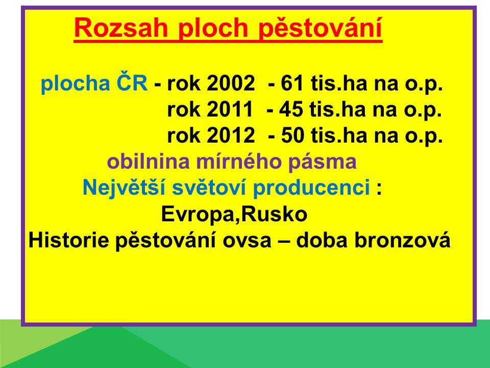 Rozsah ploch pěstování plocha ČR - rok 2002 - 61 tis.ha na o.p. rok 2011 - 45 tis.ha na o.p. rok 2012 - 50 tis.ha na o.p. obilnina mírného pásma Nejvě