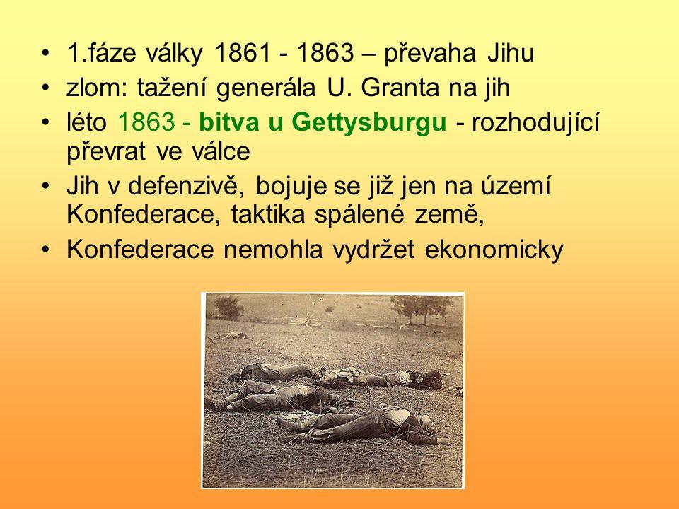 1.fáze války 1861 - 1863 – převaha Jihu zlom: tažení generála U. Granta na jih léto 1863 - bitva u Gettysburgu - rozhodující převrat ve válce Jih v de