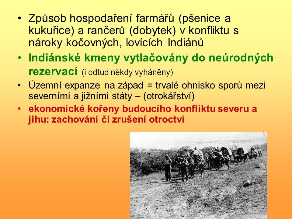 Způsob hospodaření farmářů (pšenice a kukuřice) a rančerů (dobytek) v konfliktu s nároky kočovných, lovících Indiánů Indiánské kmeny vytlačovány do ne