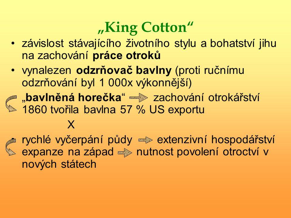 """""""King Cotton"""" závislost stávajícího životního stylu a bohatství jihu na zachování práce otroků vynalezen odzrňovač bavlny (proti ručnímu odzrňování by"""