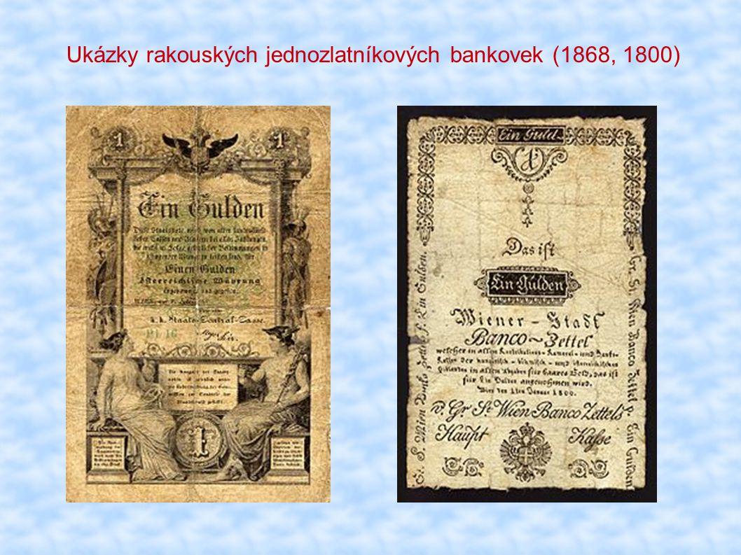 Ukázky rakouských jednozlatníkových bankovek (1868, 1800)