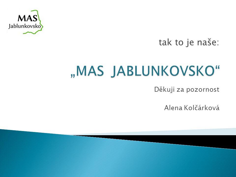 Děkuji za pozornost Alena Kolčárková tak to je naše: