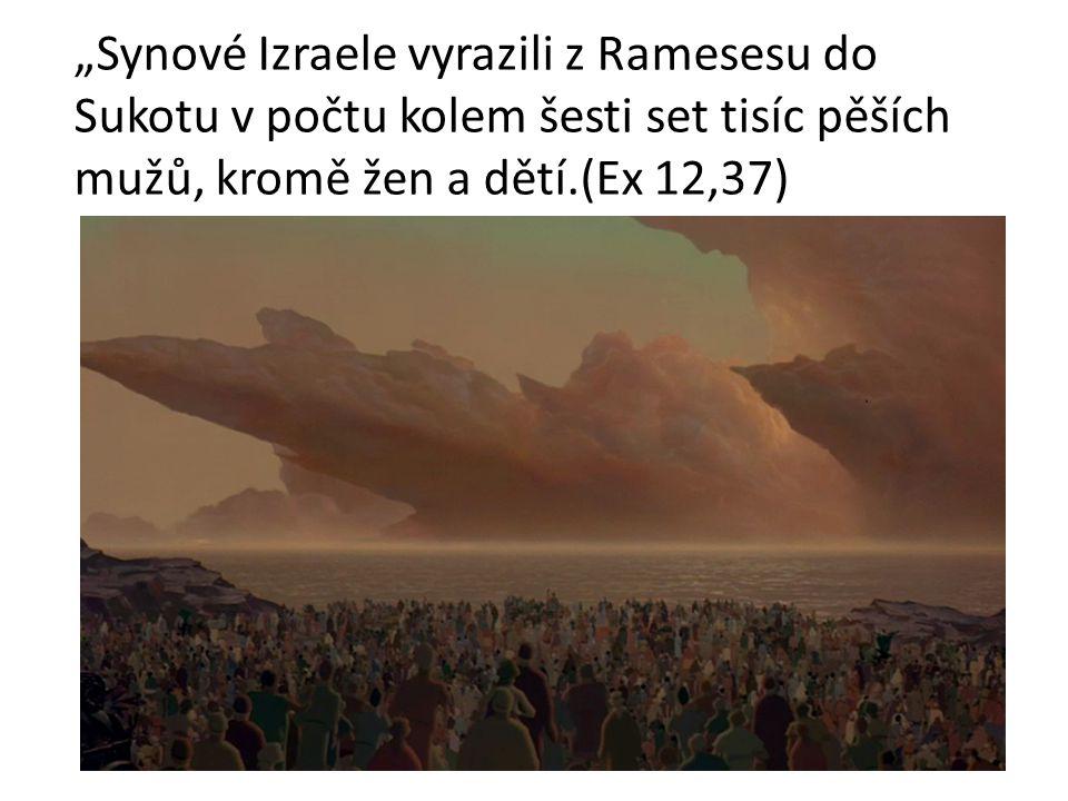 """""""Synové Izraele vyrazili z Ramesesu do Sukotu v počtu kolem šesti set tisíc pěších mužů, kromě žen a dětí.(Ex 12,37)"""