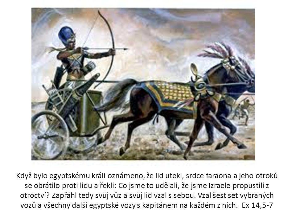 Když bylo egyptskému králi oznámeno, že lid utekl, srdce faraona a jeho otroků se obrátilo proti lidu a řekli: Co jsme to udělali, že jsme Izraele propustili z otroctví.